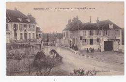 SEIGNELAY Le Monument Et Route D'Auxerre - Hotel Et Café Du Grand Cerf (carte Animée) - Seignelay