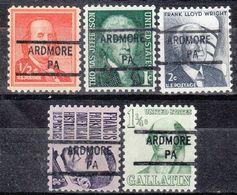 USA Precancel Vorausentwertung Preo, Locals Pennsylvania, Ardmore 841, 5 Diff. - Vereinigte Staaten