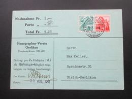Schweiz 1941 Nachnahmekarte Stenographen Verein Oerlikon. Mitgliedsbeitrag - Briefe U. Dokumente