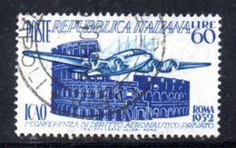 XP3822 - REPUBBLICA 1952 ,  60 Lire  Sassone N. 697  Usato . ICAO - 6. 1946-.. Repubblica