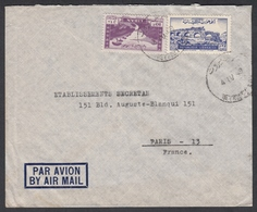 """N° 38 + PA N° 20 + Timbre Fiscal Au Verso Sur Lettre Par Avion Oblit. CAd """" Beyrouth 04/04/49 """" Pour Paris - Liban"""