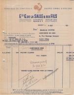 54 962 NANCY MEURTHE ET MOSELLE 1930 Fabrique Confiserie Gommes Reglisses G. DE LA SALLE ET FILS Rue Drouot - France