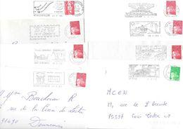 Lot De 50 Lettres Avec Flammes Des Années 1990 - Marcophilie (Lettres)