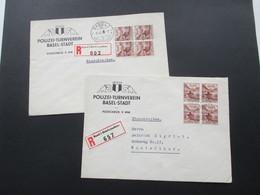 Schweiz 1941 2 R-Briefe PTV Polizei Turnverein Basel. Basel 1 Briefannahme. Einschreiben. Z.T. Senkr. Paare! - Briefe U. Dokumente