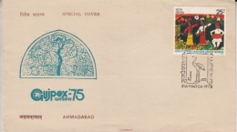 India  1975  Birds  Cranes Canvellation  GUJPEX  Cover  # 10248    Inde Indien - Cranes And Other Gruiformes