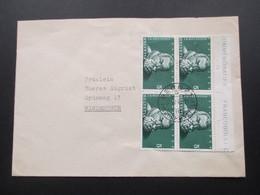 Schweiz Brief 1948 Nr. 496 Als 4er Block Mit Oberrand / Randbedruckung! - Briefe U. Dokumente