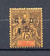 !!! GUADELOUPE : N°49f CHIFFRE 1 RENVERSE NEUF * - Guadeloupe (1884-1947)