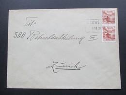 Schweiz Brief 1949 Bahnspost Stempel Etzilen  SBB - Briefe U. Dokumente