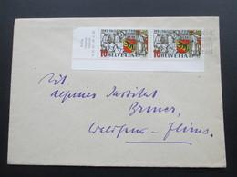 Schweiz Brief 1941 Nr. 398 Eckranstück Unten Links. Randbedruckung - Briefe U. Dokumente