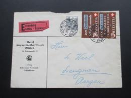 Schweiz Brief 1942 Eilsendung Expres. Hotel Augustinerhof Hospiz Zürich. Frankatur Nr. 405 / 407 Zusammendruck! - Briefe U. Dokumente