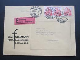 Schweiz Brief 1943 Eilsendung Expres. Jac. Füllermann Forst Und Baumschulen Gossau St. Gallen - Briefe U. Dokumente