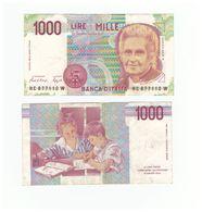 Italie 1000- Italian Lire Banknote (Maria Montessori) - [ 2] 1946-… : République