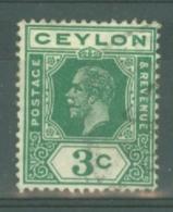 Ceylon: 1912/25   KGV   SG302   3c     Used - Ceylan (...-1947)