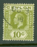Ceylon: 1912/25   KGV   SG310   10c  Sage-green  Used - Ceylon (...-1947)