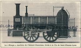 """1982 : Document, CHEMIN DE FER, Locomotive  La """"Monge"""" De Clément-Desormes (1847), Compagnie Saint-Etienne - Lyon - Old Paper"""