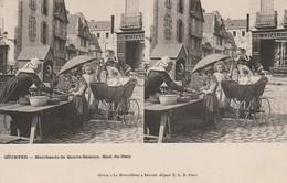 Finistère : QUIMPER : Marchands De Quatre-saisons Quai Du Steir ( Carte Stéréoscopique ) - Quimper