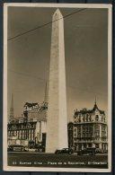 1937 Argentina, Buenos Aires, Plaza De La Republica RP Postcard - Basel, Switzerland. Barbados Trinidad Ship, Le Havre - Argentina