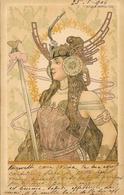 Illustration Basch Arpad: Tumblr, Femme Guerrière - Art Nouveau - Carte Dos Simple 1900 - Illustrators & Photographers