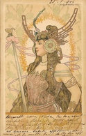 Illustration Basch Arpad: Tumblr, Femme Guerrière - Art Nouveau - Carte Dos Simple 1900 - Künstlerkarten
