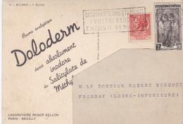 """ITALIE  :   Divers  Sur Carte Publicitaire   """" Doloderme Roger Bellon """" - 6. 1946-.. Repubblica"""