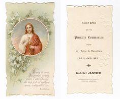 Mainvilliers, 28, 1re Communion De Gabriel Janvier, 1922, Citation De Bourdaloue, Jésus Et Lierre, H. Bonamy N° 2017 - Images Religieuses
