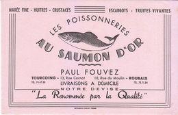 Buvard AU SAUMON D'OR -  Roubaix, Tourcoing (Nord)  Poisson, Exemplaire Rose - P