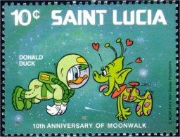 580 Saint Lucia Disney Moonwalk Donald Alien Martien MNH ** Neuf SC (LUC-48b) - Space