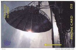 Falkland Islands,  FLK2C, £15, Satellite Dish, 2 Scans.   2CWFC. - Falkland Islands