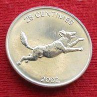 Congo 25 Centimes 2002 Dog UNCºº - Congo (Democratic Republic 1998)