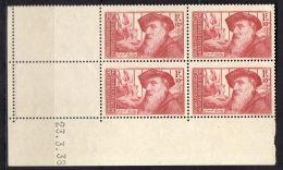 """FRANCE ( POSTE ) : Y&T  N° 384 """" COIN  DATE """"  DU  23/03/1938  TIMBRES  NEUFS  SANS  GOMME, A  VOIR . - 1930-1939"""