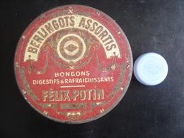 Boite Ancienne Fer Metal BONBONS BERLINGOTS FELIX POTIN 9,5 Diamx4,5 Cm - Boxes
