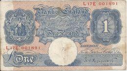 Gran Bretaña - Great Britain 1 Pound 1940-48 Pick 367.a Ref 1587 - …-1952 : Antes Elizabeth II