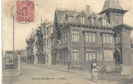 MALO-LES-BAINS . CHALETS + 1 DAME AU 1er PLAN . AFFR LE 17 FEVR 1906 SUR RECTO - Malo Les Bains