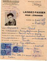 VP11.923 - MILITARIA - 1958 - PARIS - Commissariat Spécial - Laissez - Passer Daniel ROUGERIE Né à BONDY - Police
