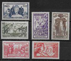EXPO 37 - DAHOMEY - YVERT N°103/108 **/* CHARNIERE LEGERE SUR 40c ET 90c - COTE = 14.5+ EUROS - - 1937 Exposition Internationale De Paris