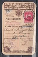 Federation Nationale Des Militaires Mvtiles Invalides De La Gverre Met Stempel Bruxelles 1 Brussel - Covers & Documents