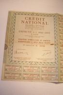 CREDIT  NATIONAL  - EMPRUNT  4 %  1941 -1953 -  Cinquième D'obligation Au Porteur - Shareholdings