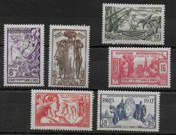 EXPO 37 - INDE - YVERT N°109/114 * CHARNIERE ASSEZ FORTE - COTE = 11 EUROS - - 1937 Exposition Internationale De Paris