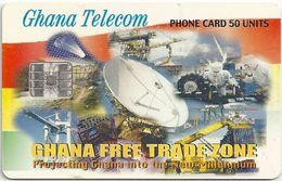 Ghana - Ghana Telecom - Free Trade Zone - 09.01, SC7, 50U, 800.000ex, Used - Ghana