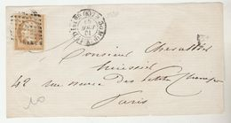 LETTRE AFFRANCHIE SUR  DEVANT DE LETTRE  15 AOUT 61 AVEC TIMBRE Nr 13 II NAPOLEON  III   COTE 35 € - 1852 Louis-Napoléon