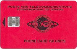 Ghana - P&T - Red Small Logo, 150U, 04.97, SC7, 50.000ex, Used - Ghana