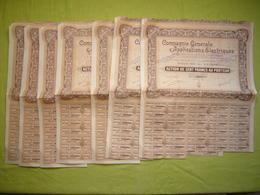 Lot De 7 Actions 1930 Compagnie Générale D'applications électriques 100 Francs Au Porteur - Electricité & Gaz