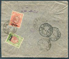 1915 Persia Iran Kazvin Teheran Isfahan Overprints Cover. Lion Surcharge - Iran