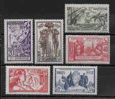 EXPO 37 - NOUVELLE CALEDONIE - YVERT N°166/171 * CHARNIERE LEGERE - COTE = 24 EUROS - - 1937 Exposition Internationale De Paris