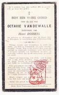 DP Octavie VandeWalle ° Zerkegem Jabbeke 1897 † Bekegem Ichtegem 1921 X Henri Rosseel - Devotion Images