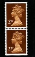 GREAT BRITAIN - 1988  MACHIN  27p. PCP  PAIR IMPERF. TOP & BOTTOM  MINT NH  SG X973 - 1952-.... (Elisabetta II)