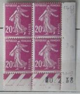 Semeuse 20 C. Rose 190 En Bloc De 4 Coin Daté - Variété Zéro RARE Au Lieu De 10 - 1906-38 Semeuse Con Cameo