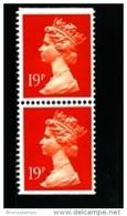 GREAT BRITAIN - 1988  MACHIN  19p. PCP  PAIR  IMPERF. TOP & BOTTOM  MINT NH  SG X956 - 1952-.... (Elisabetta II)