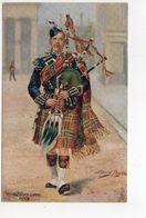 THE SCOTS GUARDS, Bag Piper, UK Military Unit, Tartan, Pre-1920 Postcard S/A Harry Payne - Régiments