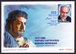 Armenien / Armenie / Armenia 2018, 100th Anniversary Of Babken Nersisian (1917-1986),Armenian Actor - FDC - Armenia
